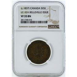 c. 1837 Canada Un Sou LC-32A Belleville Issue Coin NGC VF35BN