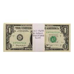 Lot of (10) Uncirculated 1963B $1 Federal Reserve BARR Notes