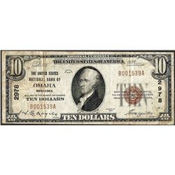 1929 $10 National Currency Note United States NB of Omaha, Nebraska CH# 2978