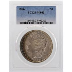 1886 $1 Morgan Silver Dollar Coin PCGS MS63 Nice Color