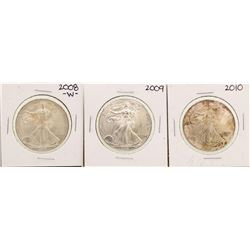 Lot of 2008-2010 $1 American Silver Eagle Coins