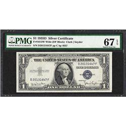 1935D $1 Silver Certificate Note Fr.1613W PMG Superb Gem Uncirculated 67EPQ