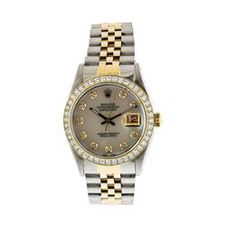 Mens Two Tone Rolex Datejust Wristwatch with MOP Diamond Dial & Bezel