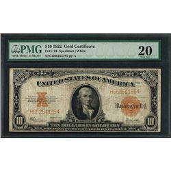 1922 $10 Gold Certificate Note Fr.1173 PMG Very Fine 20