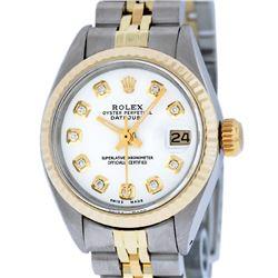 Rolex Ladies Two Tone 14K White Diamond 26MM Datejust Wristwatch