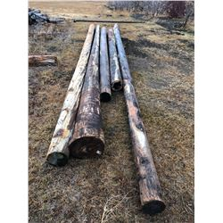 5 wooden power poles various sizes