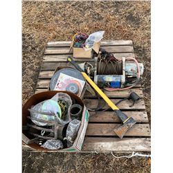 Heavy Duty Winch with connectors, axe, nails, clutch, misc. pvc pipe and lights