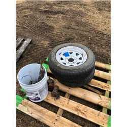 2 Quadra Se tires with rims size P205/65R15, shut off taps, misc bucket