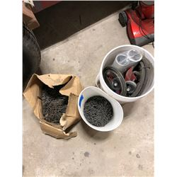 Bucket of nails, misc. hoses, rollers