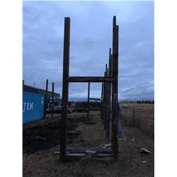 2 - 20 ft Square Poles with 2 - 4 ft square wooden poles