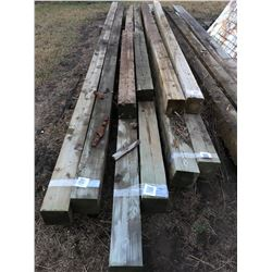 2 - 20 ft Square Wooden Poles and 2 - 5-8 ft Wooden Square Poles