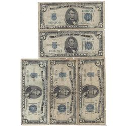 1934 $5 Bill Currency Lot of 5