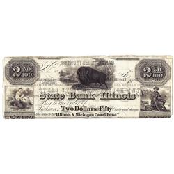 1848 $2.50 State Bank of Illinois Obsolete Bank Note