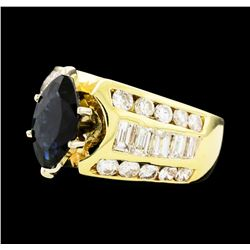 2.10 ctw Sapphire and Diamond Ring - 14KT Yellow Gold