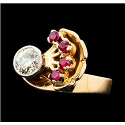 1.17 ctw Diamond And Ruby Ring - 14KT Rose And White Gold