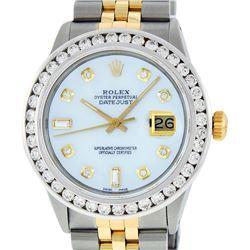 Rolex Mens 2 Tone MOP 3 ctw Channel Set Diamond Datejust Wristwatch