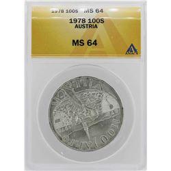 1978 Austria 100 Schilling Coin ANACS MS64