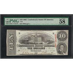 1863 $10 Confederate States of America Note T-59 PMG About Uncirculated 58EPQ Ca