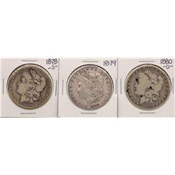 Lot of 1878-S, 1879 & 1880-O $1 Morgan Silver Dollar Coins