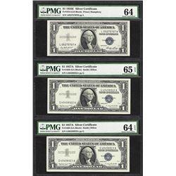 Lot of (3) Silver Certificates 1935E Choice Unc 64, 1957A 64EPQ, 1957A Gem Unc 6