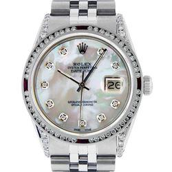 Rolex Mens SS MOP Diamond Lugs & Ruby Channel Set Diamond Datejust Wristwatch