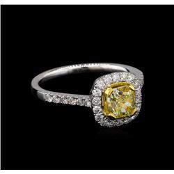 18KT White Gold 1.56 ctw Fancy Yellow Diamond Ring