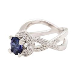 1.80 ctw Sapphire and Diamond Ring - 18KT White Gold