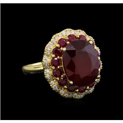 14KT Yellow Gold 10.13 ctw Ruby and Diamond Ring