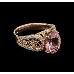3.37 ctw Pink Tourmaline and Diamond Ring - 14KT Rose Gold