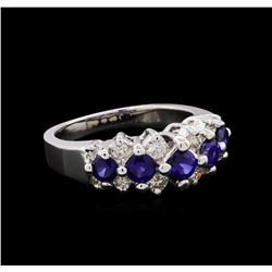 1.01 ctw Sapphire and Diamond Ring - 14KT White Gold