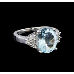 4.03 ctw Aquamarine and Diamond Ring - 14KT White Gold
