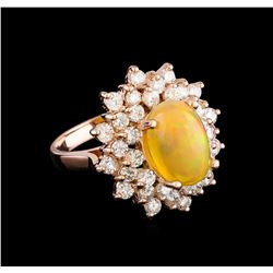 3.83 ctw Opal and Diamond Ring - 14KT Rose Gold