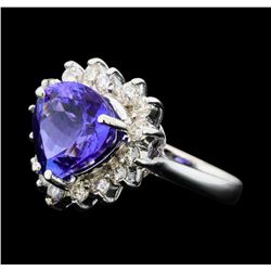 5.25 ctw Tanzanite And Diamond Ring - 14KT White Gold