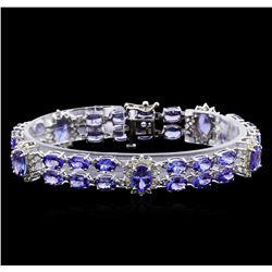 24.48 ctw Tanzanite and Diamond Bracelet - 14KT White Gold