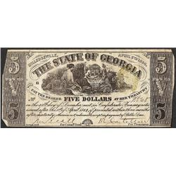 1864 $5 The State of Georgia Obsolete Note