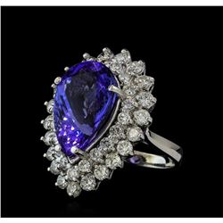 10.90 ctw Tanzanite and Diamond Ring - 14KT White Gold
