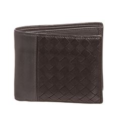 Bottega Veneta Black Gray Leather Mens Woven Bifold Wallet
