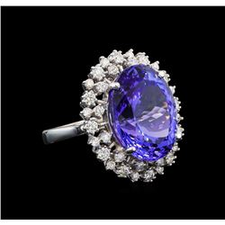 GIA Cert 16.94 ctw Tanzanite and Diamond Ring - 14KT White Gold