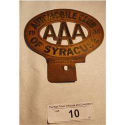 Automobile Club of Syracuse 1935 N.Y. State License Plate Attachment