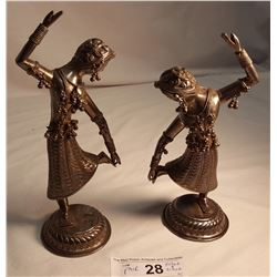 Silver Taiwanese Dancing Figures, 209gr & 216gr