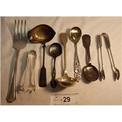 8 Pieces of Misc. Serving Cutlery, 1 Pair of Serving Tongs is Sterling 23 Grams