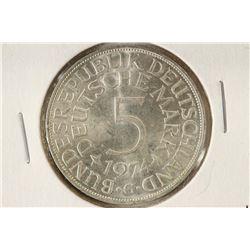 1974-G GERMAN SILVER 5 MARK BRILLIANT UNC