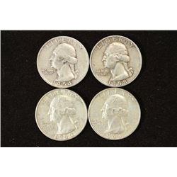 1954,58-D,60-D & 63 WASHINGTON SILVER QUARTERS