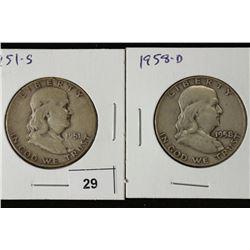1951-S & 58-D FRANKLIN HALF DOLLARS