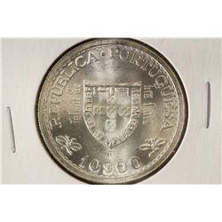 1960 PORTUGAL SILVER 10 ESCUDOS .3215 OZ.ASW