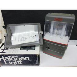 Coleman Lantern & New Halogen Light 500 watt
