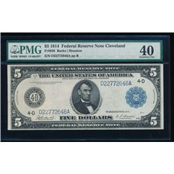 1914 $5 Cleveland Federal Reserve Note PMG 40