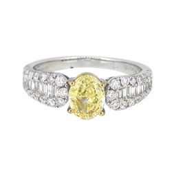 18KT White Gold 1.01ct Fancy Yellow Diamond Ring