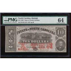 1863 $10 State of North Carolina Note PMG 64