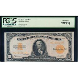 1922 $10 Gold Certificate PCGS 50PPQ